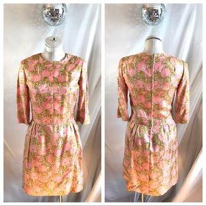 Vintage Handmade Mod Floral Print Wiggle Dress